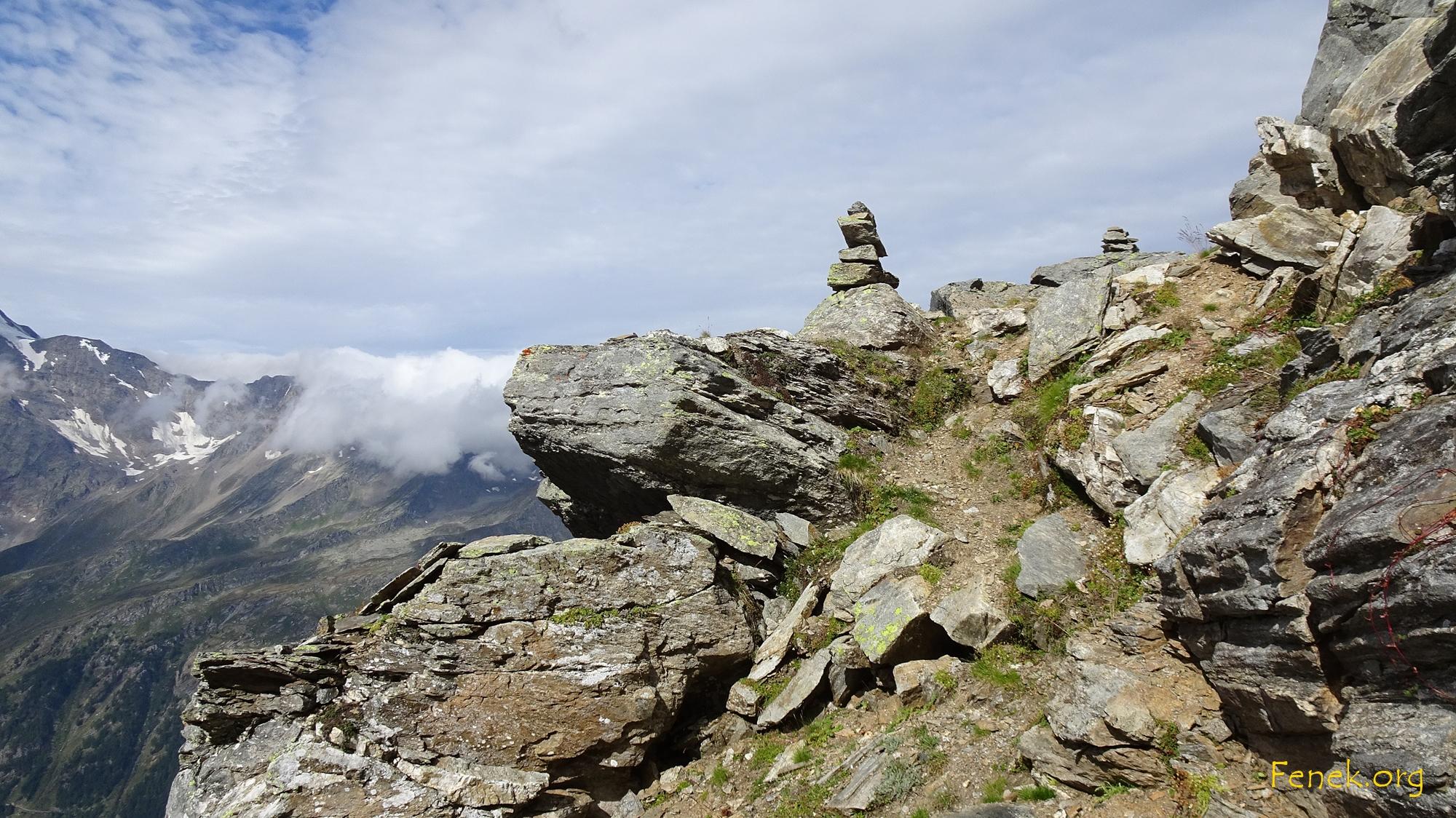 Ausstieg aus der Flanke auf den kurzen Westgrat