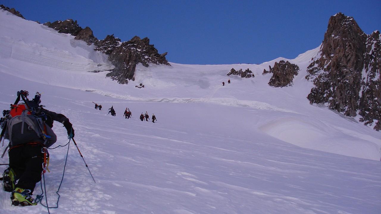 im steilen Aufstieg zum Mont Maudit