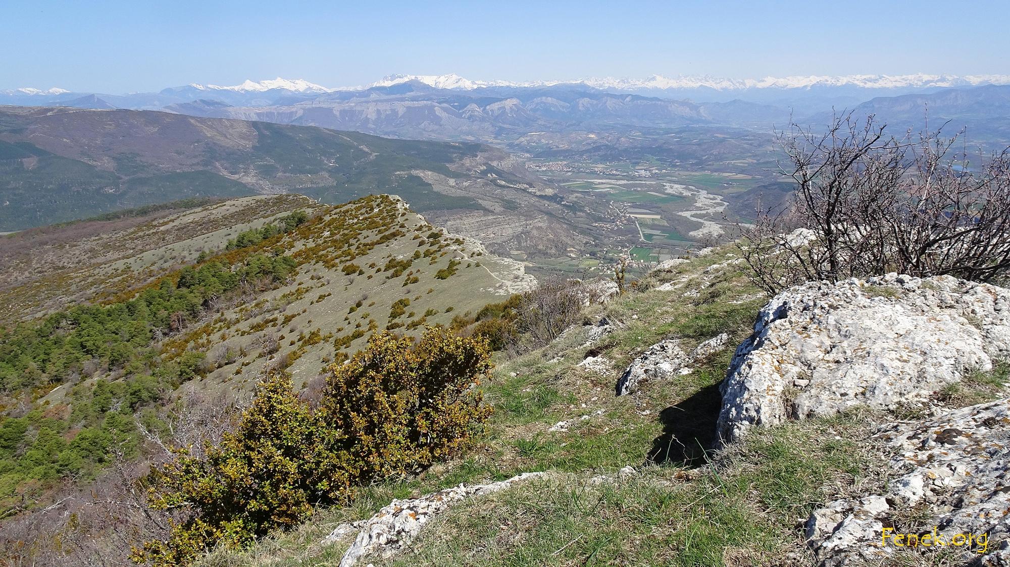 Blick vom Gipfel über die begangene Route