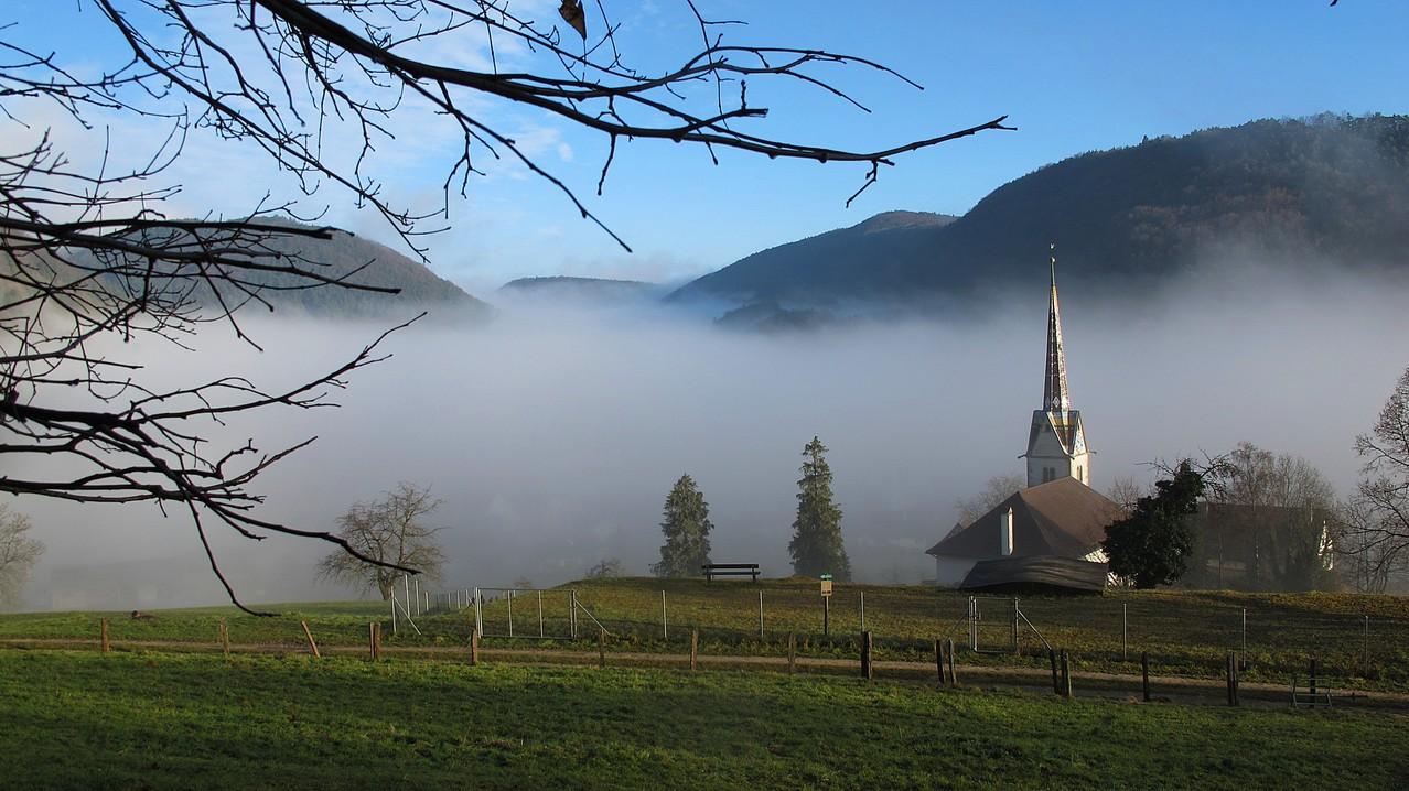 die Kirche von Merishausen