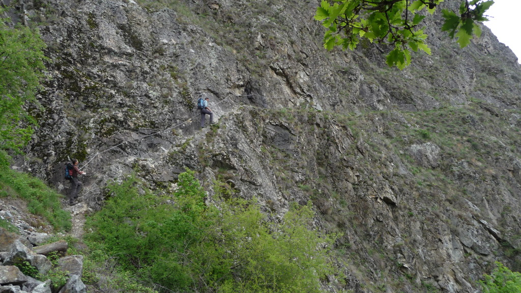 schöne Traverse an den Felsen