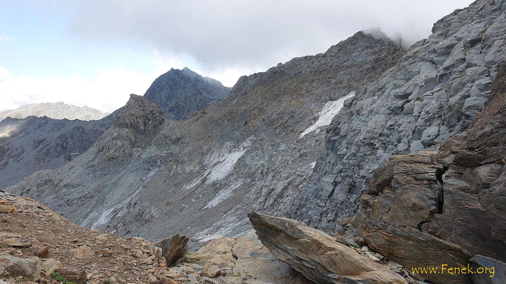 rechts Gipfel Pointe de Cion und die Flanke die wir abgestiegen sind