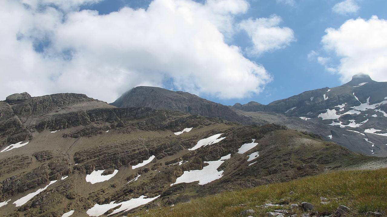 drei Gipfel von heute - links Tierberggrat - Mitte Weisshorn - rechts Rohrbachstein