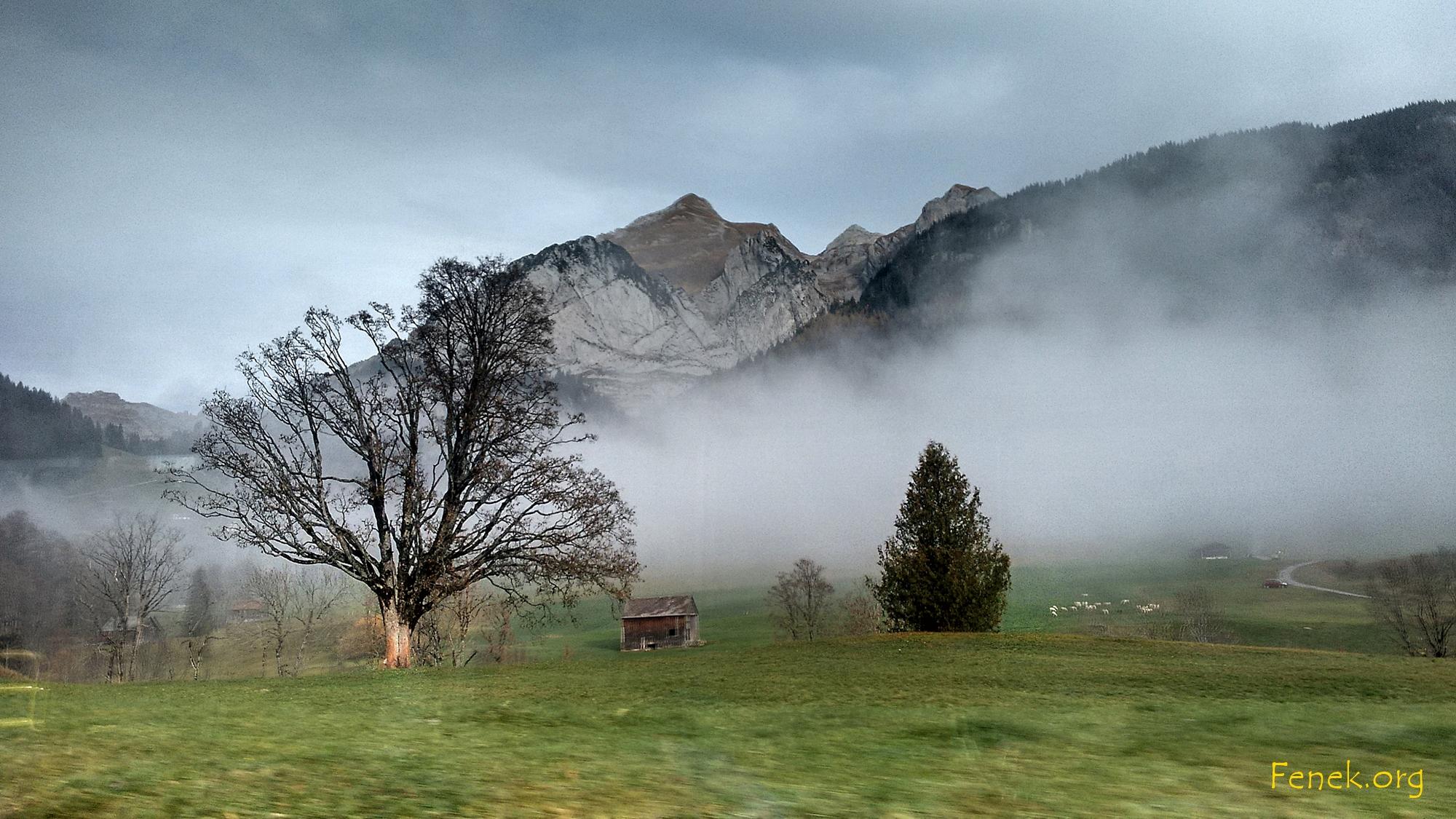 Aus dem Postauto fotografiert - Wildhuser Schafberg