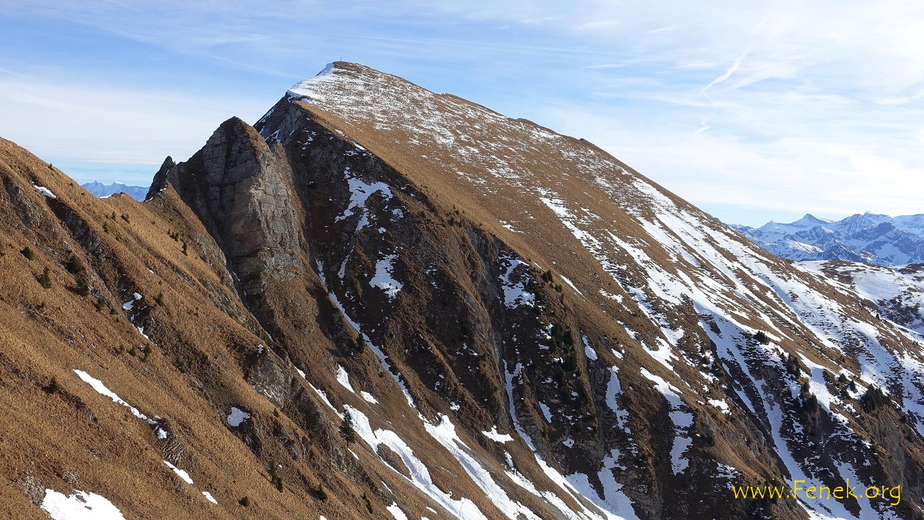 Widdergalm mit den Schwierigkeiten am Grat - weil ich den Gipfel schon bestiegen habe liess ich das Abenteuer aus....