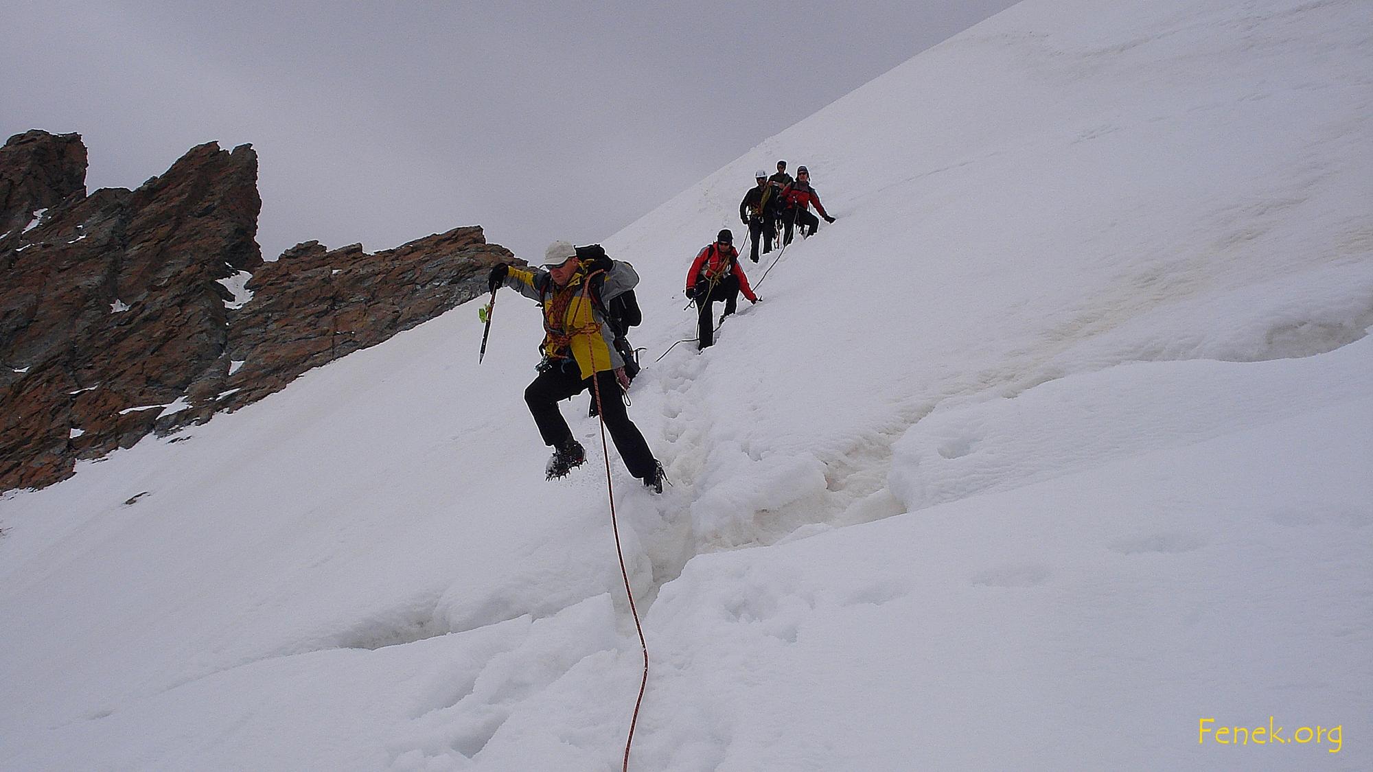 so überwindet Mann den Bergschrund....