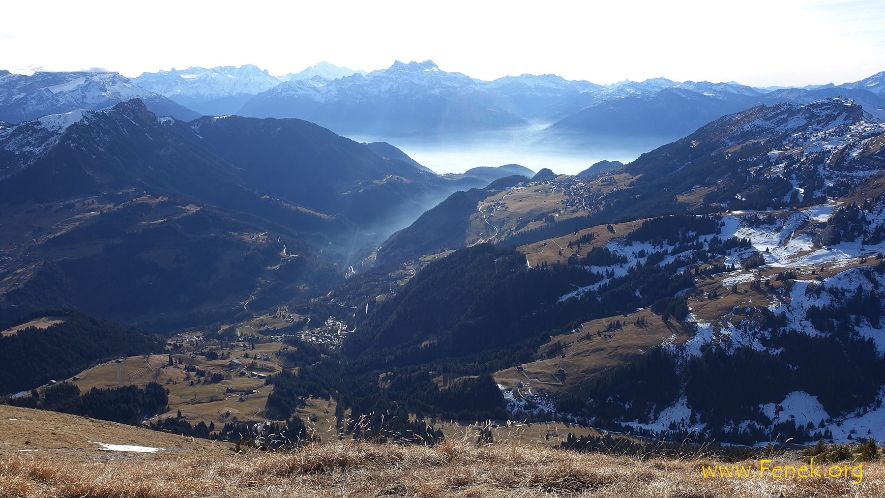 Richtung Unterwallis - Dents du Midi - Mont Blanc etc....