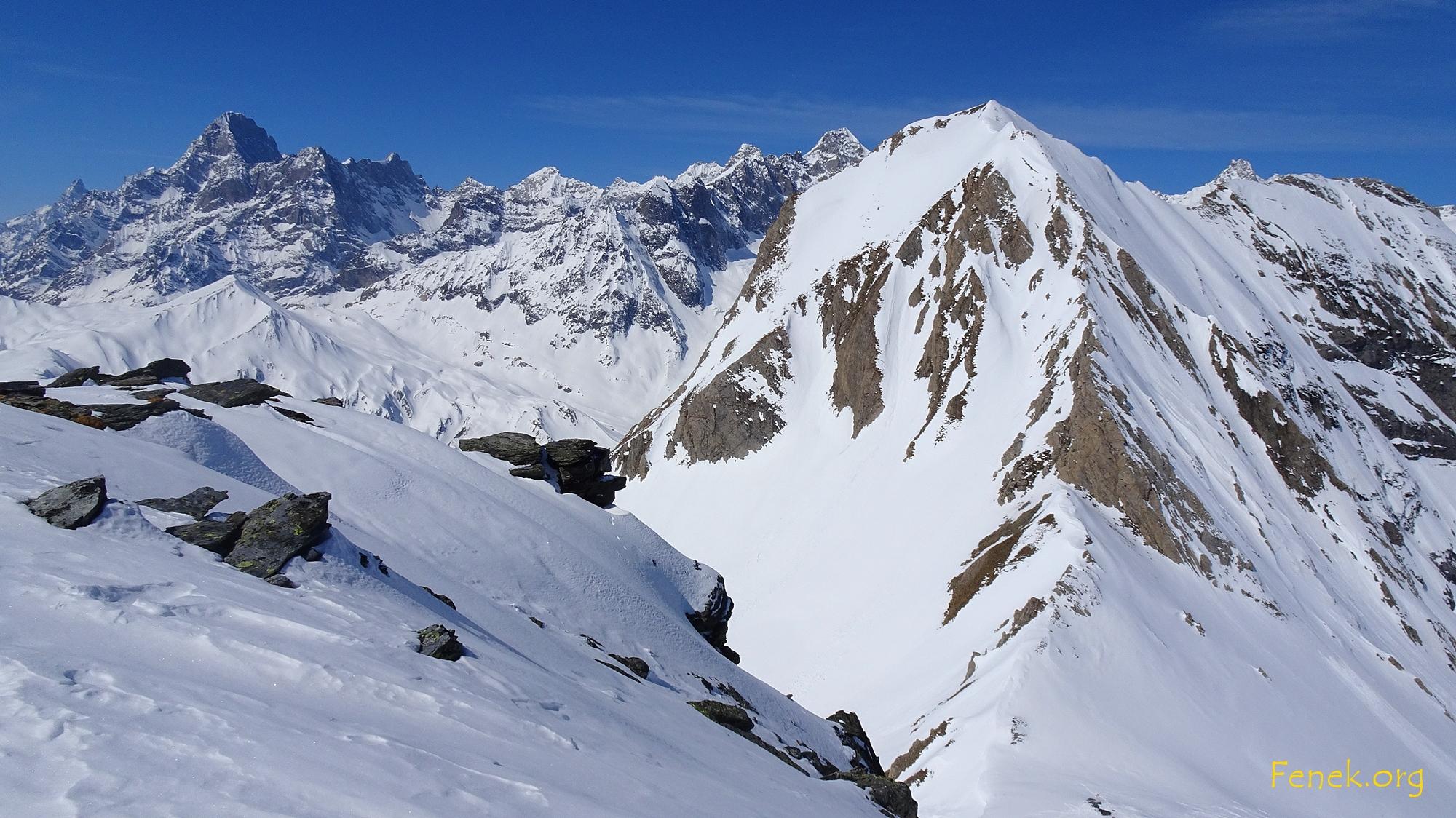 im Vordergrund der mächtige Mont Ferret