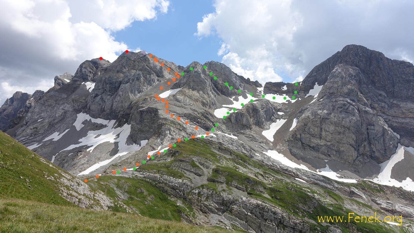 so geht's weiter Orange = Aufstieg / Rot = Gipfel / Grün = Abstieg