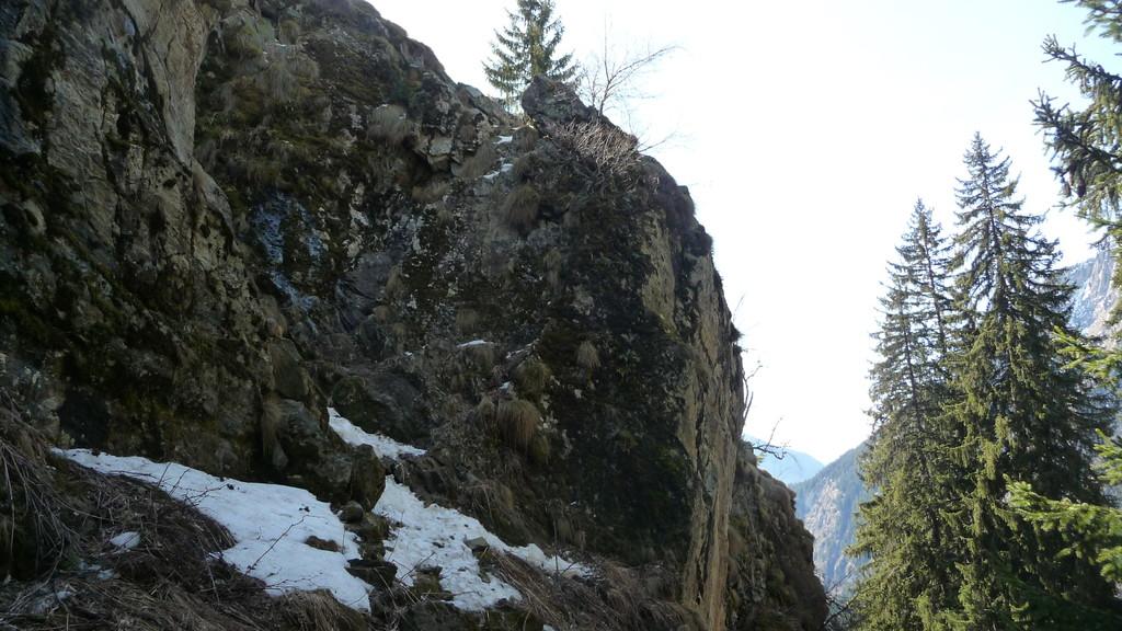 die Schlüsselstelle - vereiste Kletterpartie