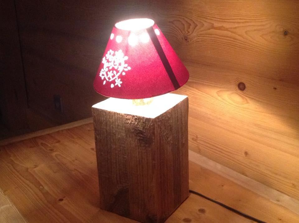 Lampe à Poser Base vieux bois