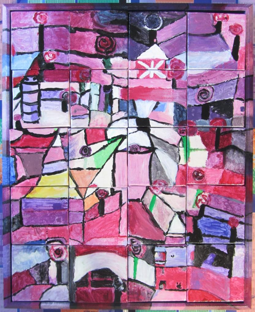 "Copie terminée, du tableau de Paul Klee - ""Rose Graden""  1920 -"