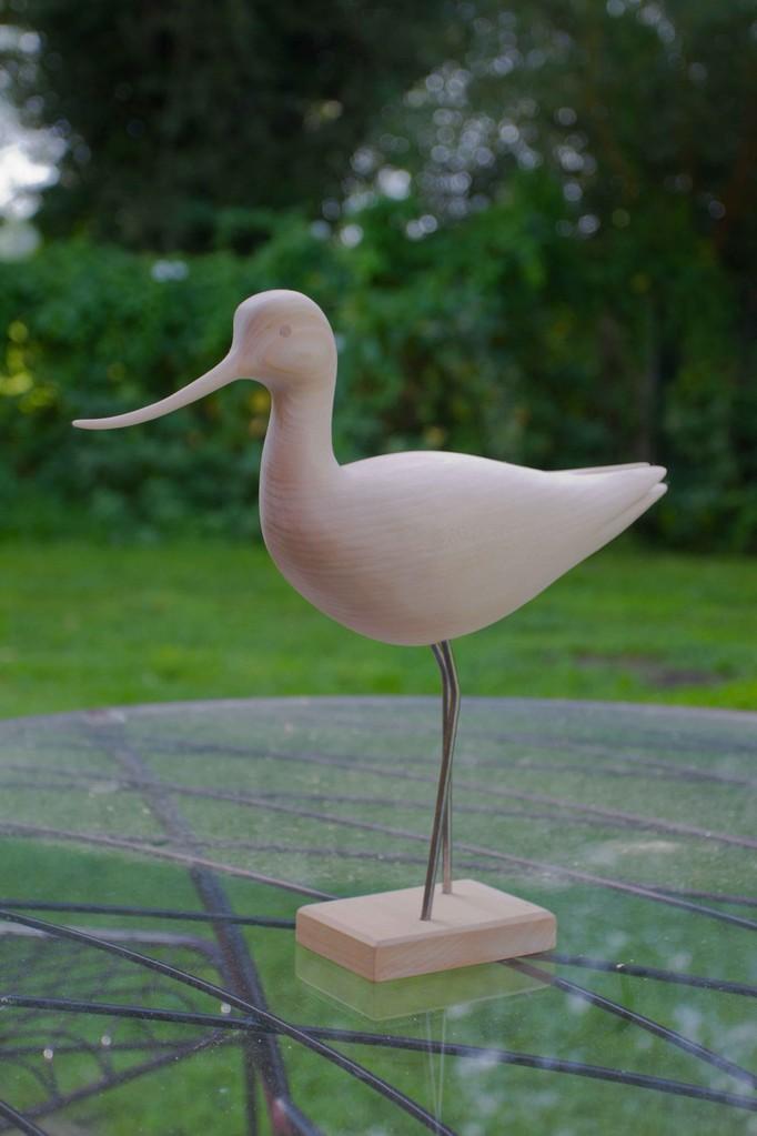 oiseau en bois sculpté: Avocette en tilleul