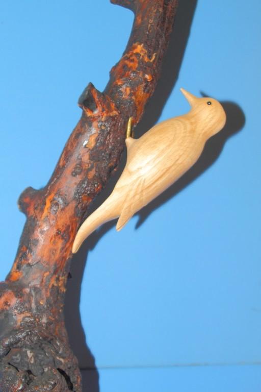 Sculpture de Pic epeiche (bois de chene)