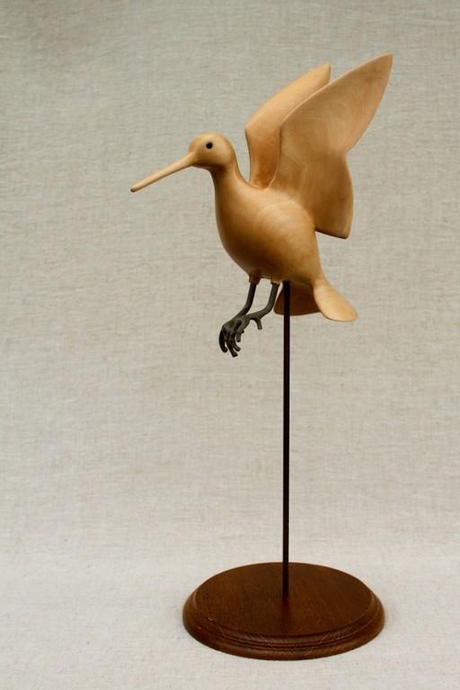 Sculpture de becassine à l'envol ( bois de tilleul)