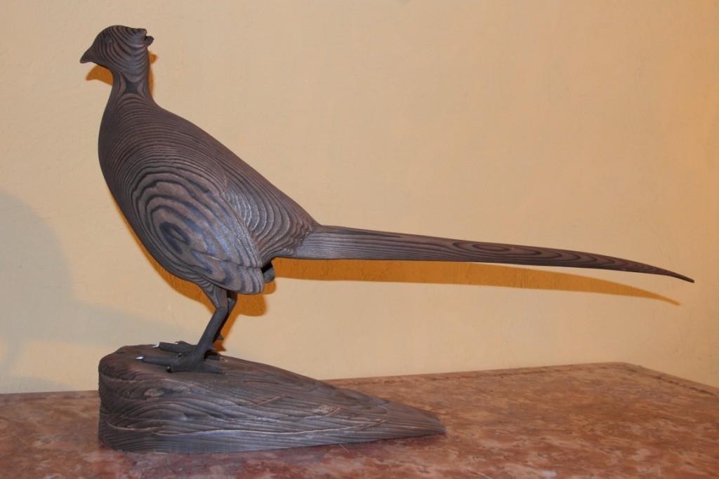 Sculpture d'oiseau en bois:faisan