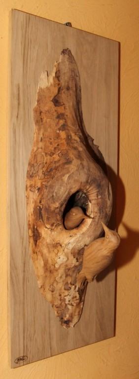 Sculpture d'oiseau en bois:couple de pics epeiche