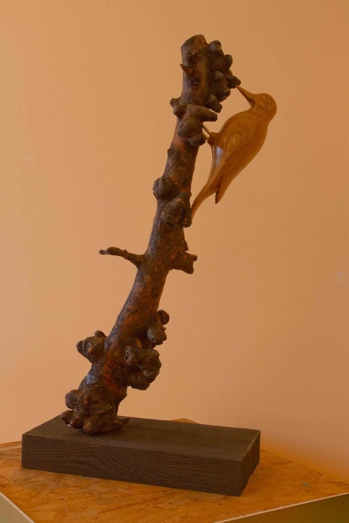 oiseau en bois sculpté:Pic epeiche sur branche de pommier