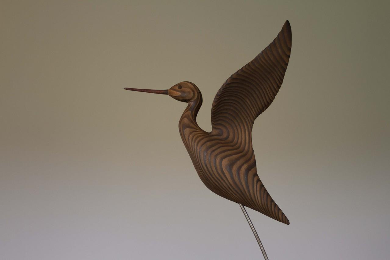 oiseau de bois:Chevalier en vol ailles hautes (détail)