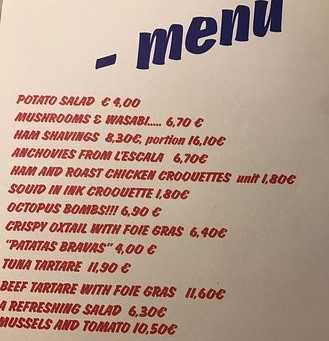 Tapas menu_Barcelona by locals travel guide