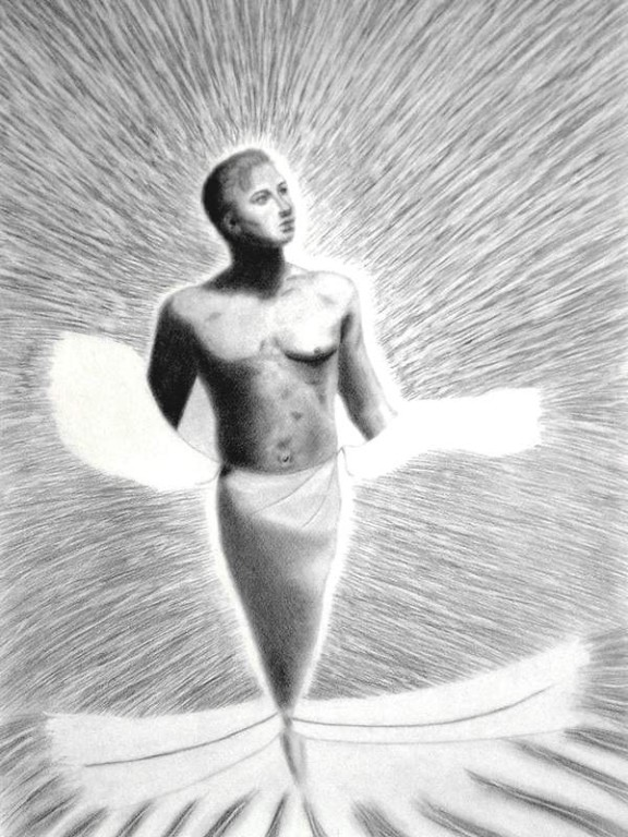 The Moonbeam,50 x 65 cm drawing in pencil
