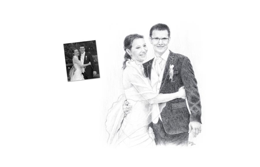 Portraits 2012 - Couple dessiné d'après photo de mariage - Format A3 (42 x 29,7 cm)
