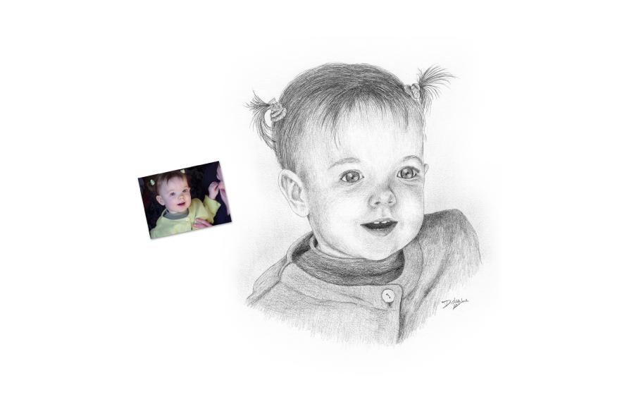 Portrait 2010 - Petite fille - Format A4 (21 x 29,7 cm)