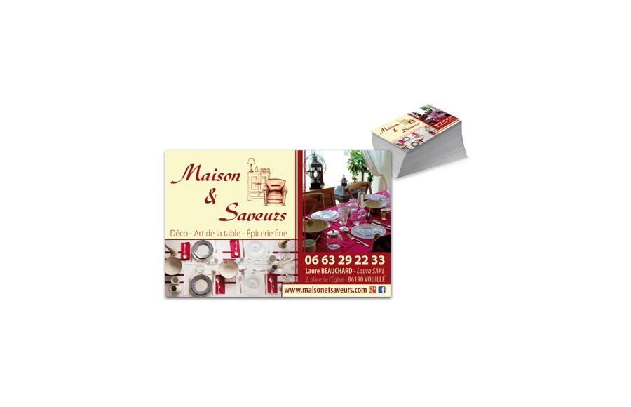 Création carte de visite - Maison et Saveurs - Déco,  Arts de la table,  Épicerie fine - Vouillé (86)