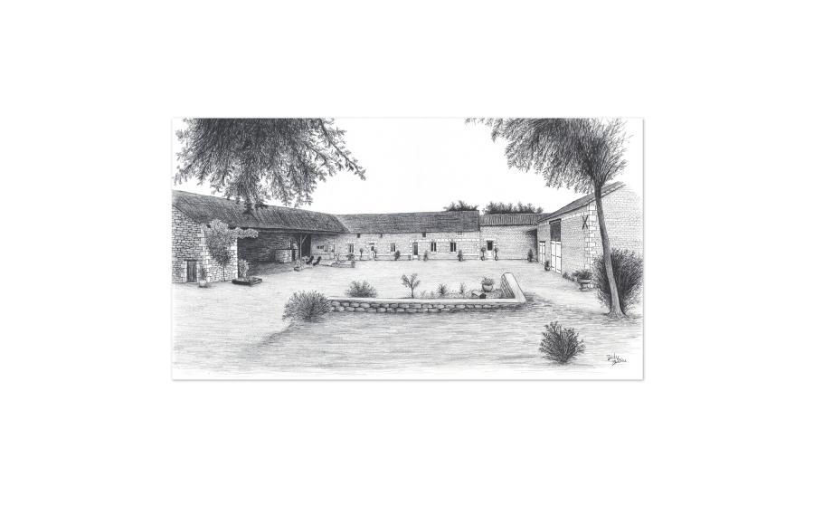 Dessin - Maison particulier - Vienne (86) - 2013 - Format A3 (42 x 29,7 cm)