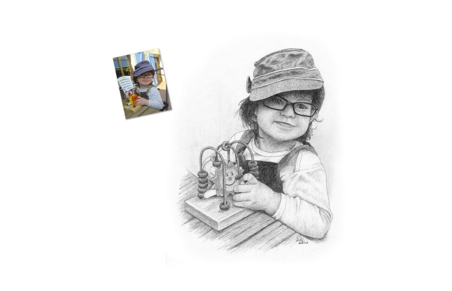 Portrait 2012 - Petite fille - Format A4 (21 x 29,7 cm)