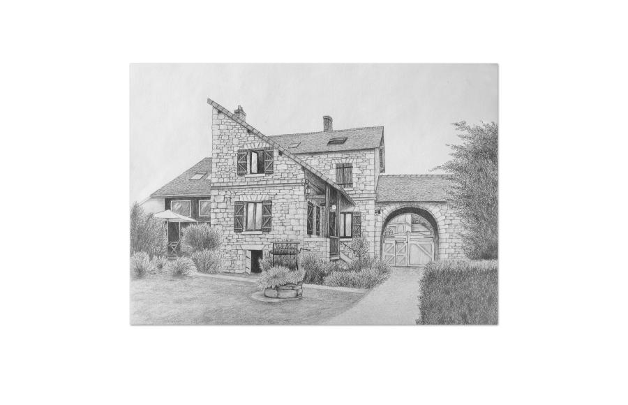 Dessin - Maison particulier - Aisne (02) - 2010 - Format A3 (42 x 29,7 cm)