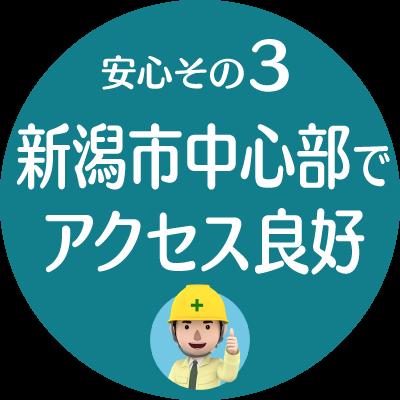 安心その3:新潟市中心部でアクセス良好【建設業許可申請代行センター】