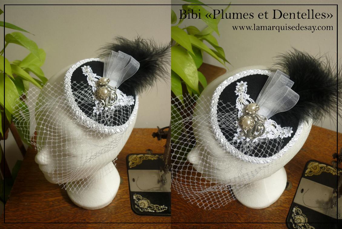 Bibi Plumes et Dentelles - feutre noir