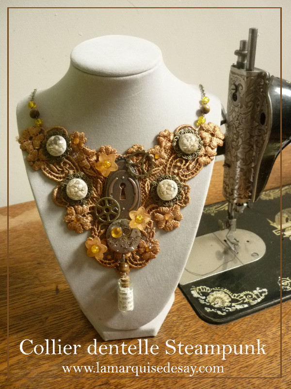 Collier dentelle Steampunk