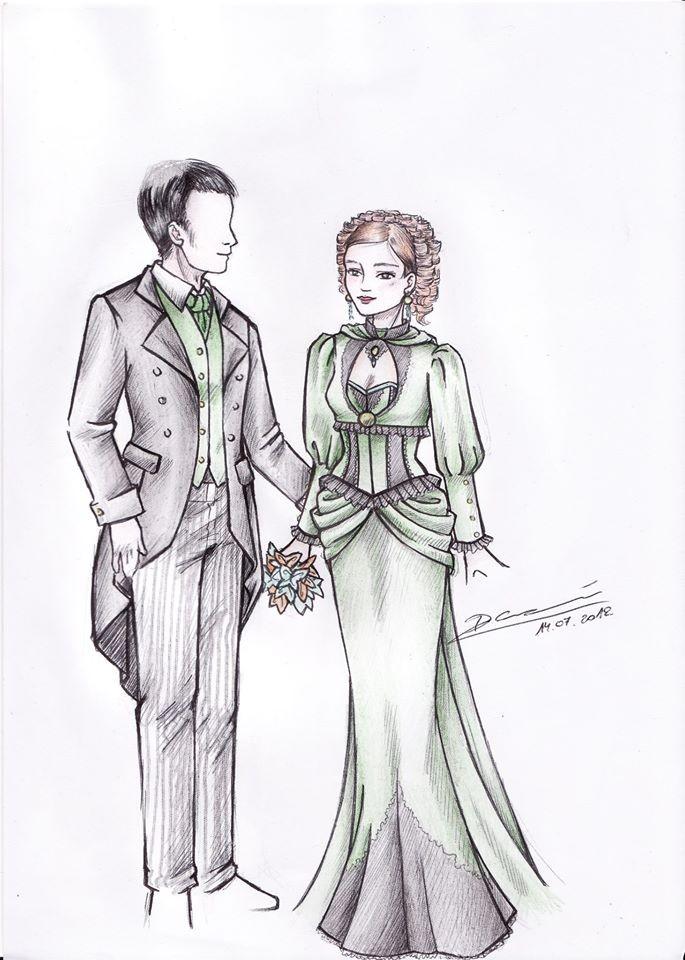 Croquis d'un ensemble de mariage STEAMPUNK