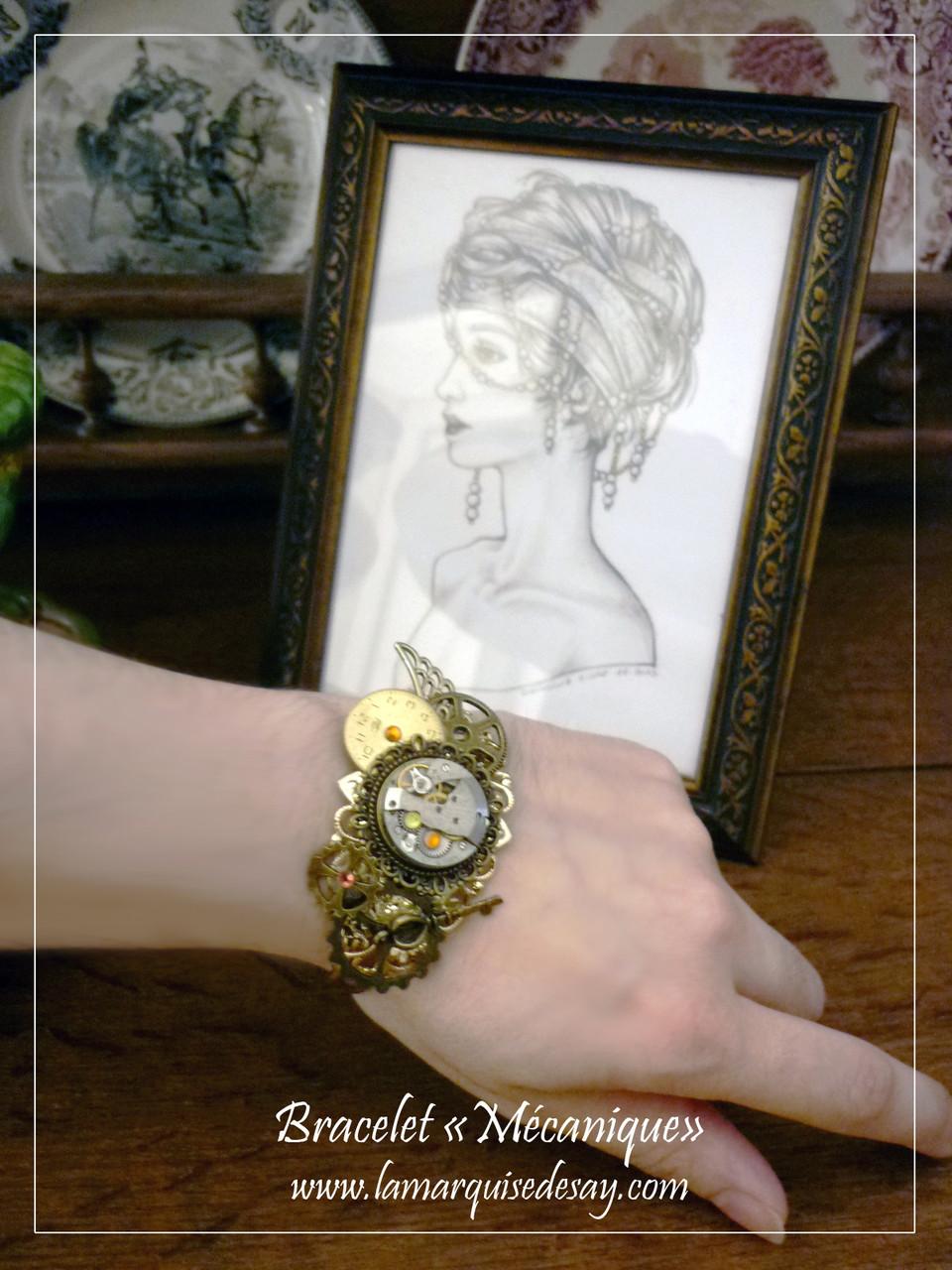 Bracelet Mécanique, style steampunk (EN VENTE)