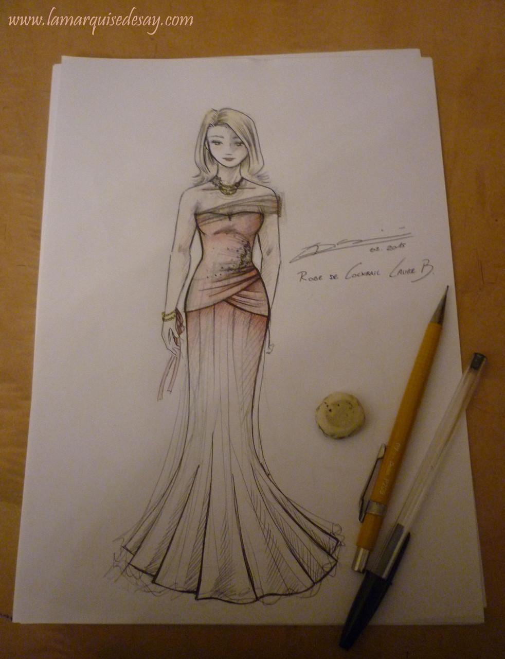 Croquis de la robe de demoiselle d'honneur CORAIL