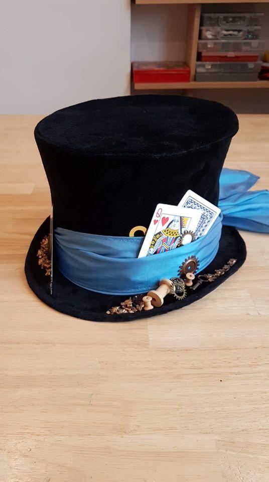 """Chapeau haut de forme """"Le Magicien et Alice"""" - Chapeau en velours"""