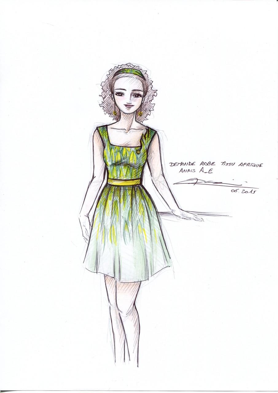 Croquis d'une robe thème AFRICAIN