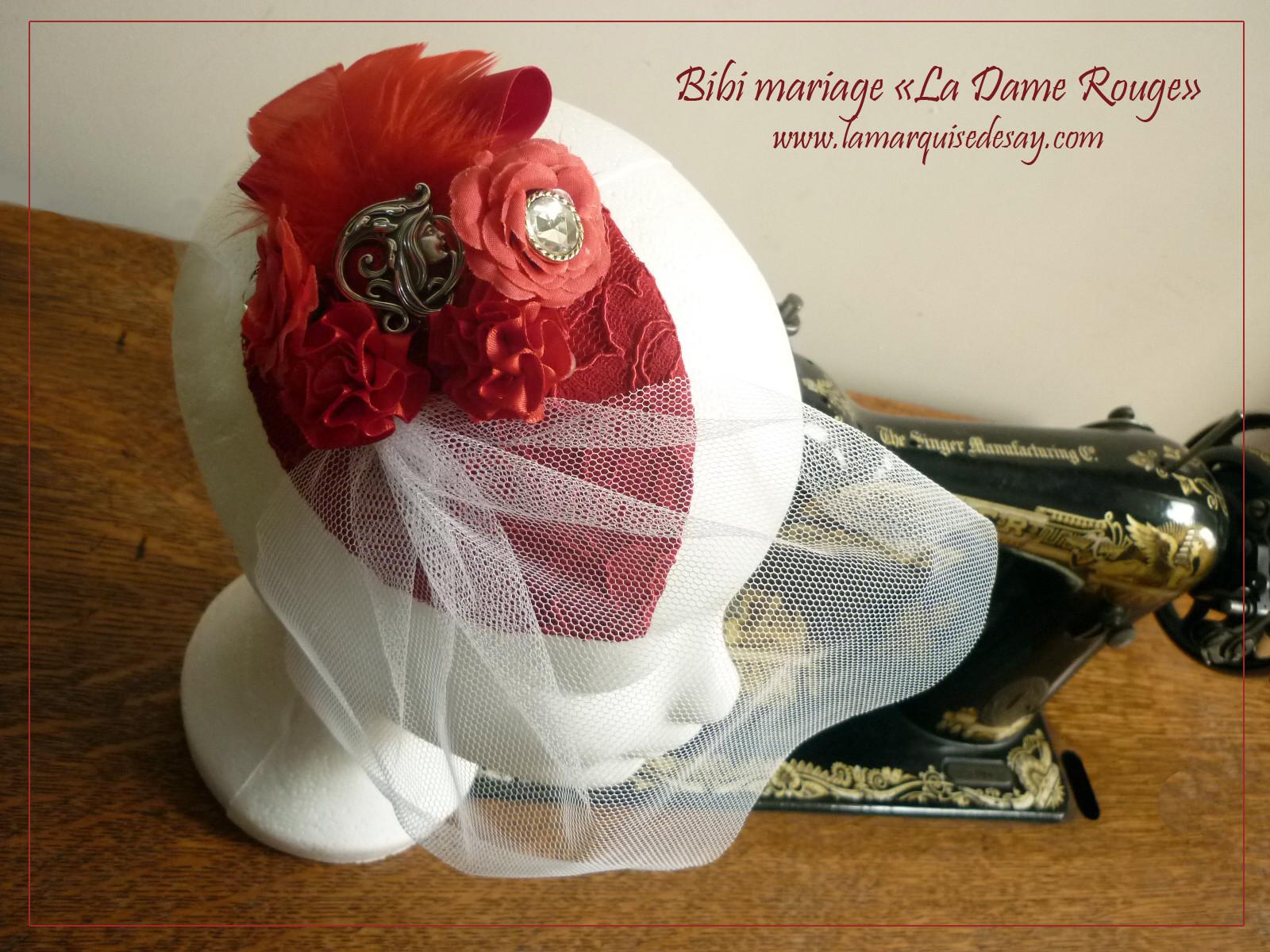 Bibi mariage - Feutre rouge moulé