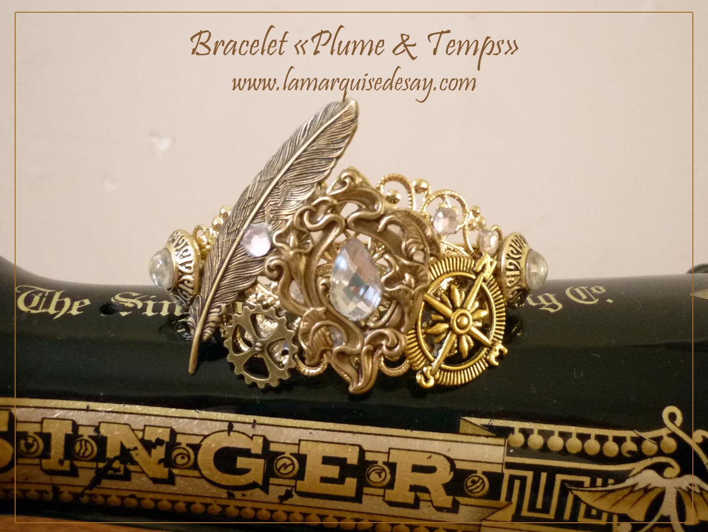 Bracelet Plume & temps, style steampunk (EN VENTE)