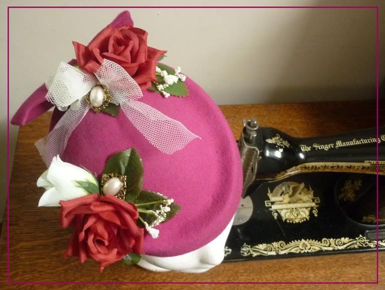 Chapeau Romantique - feutre rose fuschia