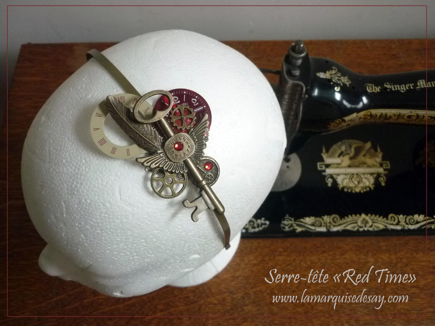 Serre-tête Red time, style steampunk (EN VENTE)