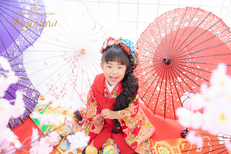 キモノガール衣装の七五三前撮り│三歳の女の子