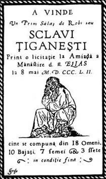 Affiche proposant la vente d'esclaves tziganes