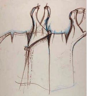 """Skizze von """"Taxi Dress"""" von Charles James"""