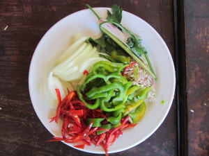 Food made at the cooking school in Bali
