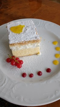 Kremsnita, Bled's famous cream cake; served here at the Grand Hotel Toplice