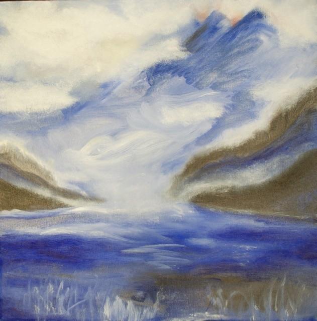 Landschaft blau mit See
