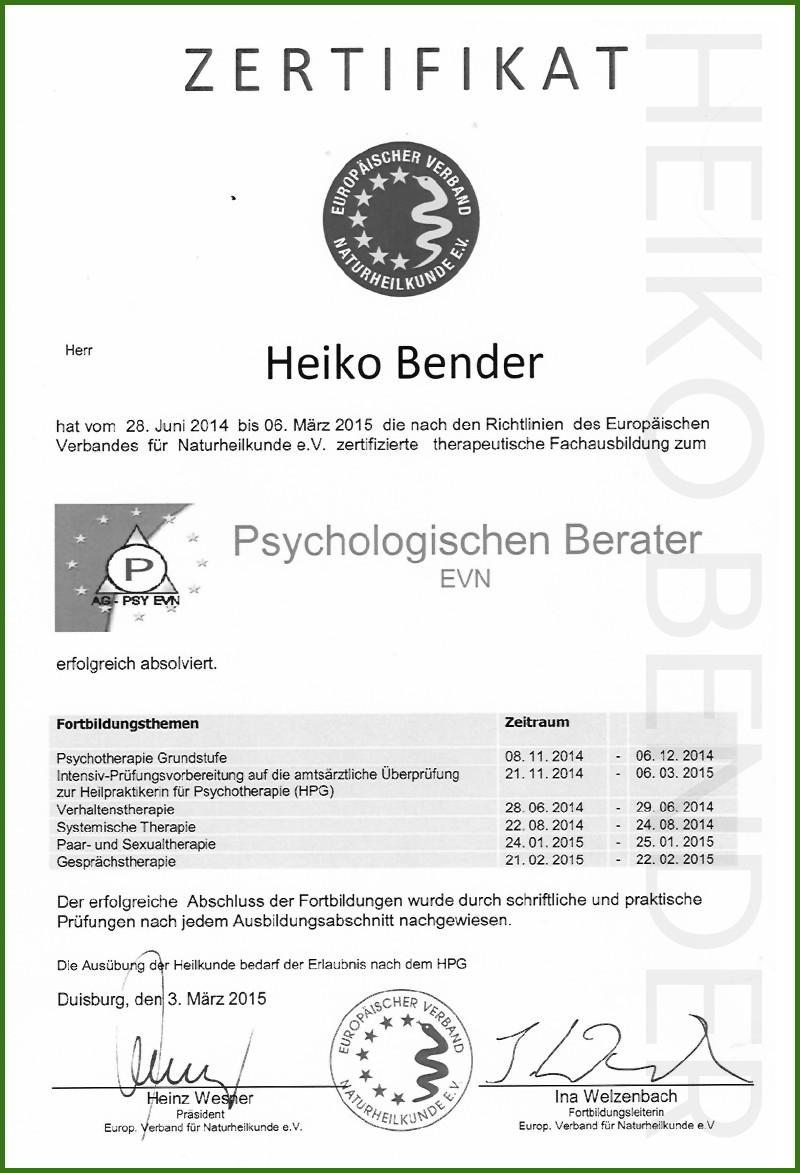 QUALIFIKATIONEN - Heiko Bender - Psychologischer Berater und Life Coach